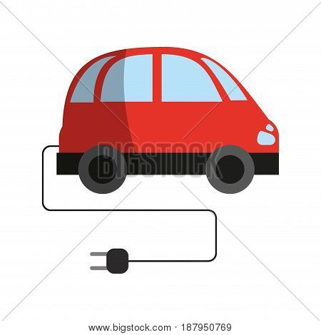 electric car with plug clean energy related icon image vector illustration design