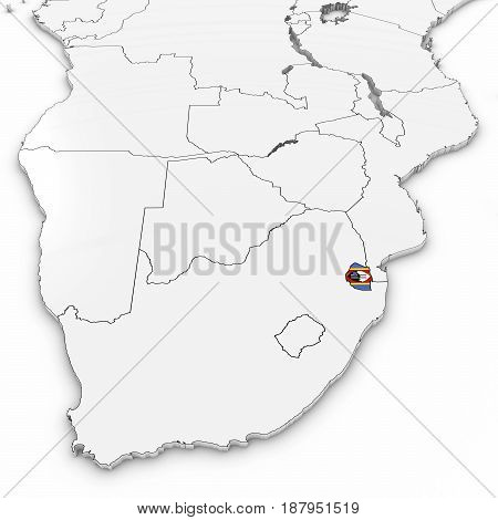 3D Map Of Swaziland With Swazi Flag On White Background 3D Illustration