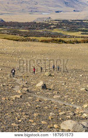 People Walking At Trekking Road. El Chalten  - Argentina