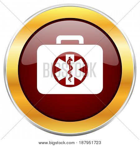Rescue kit red web icon with golden border isolated on white background. Round glossy button.