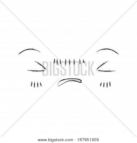 monochrome blurred silhouette of facial expression angry kawaii vector illustration