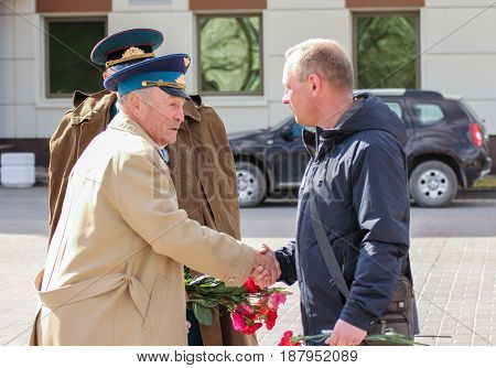 Kirishi, Russia - 9 May, Congratulation of war veterans, 9 May, 2017. Preparation and conduct of the action Immortal regiment in small cities of Russia.
