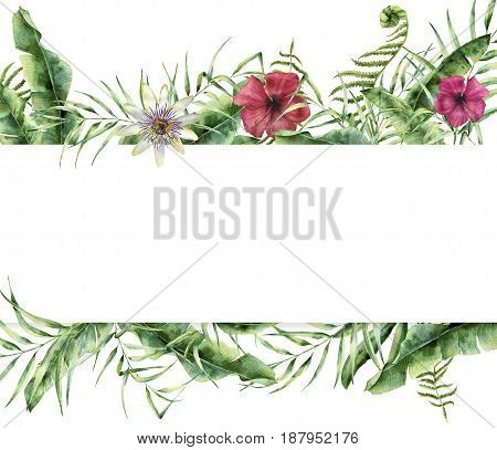 Watercolor tropical floral card. Hand painted summer frame with palm tree leaves, fern branch, banana and magnolia leaves, hibiscus flower isolated on white background. Exotic label for design.