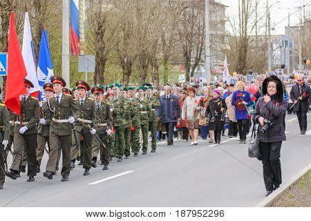Kirishi, Russia - 9 May, Immortal regiment in the city, 9 May, 2017. Preparation and conduct of the action Immortal regiment in small cities of Russia.