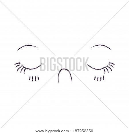 monochrome blurred silhouette of facial expression disgust kawaii vector illustration