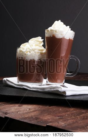 Hot Chocolate Cocoa With Whipped Cream On Vintage Wooden Backgro