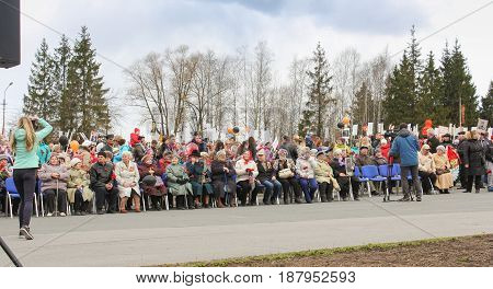 Kirishi, Russia - 9 May, People before the rally, 9 May, 2017. Holding a festive rally dedicated to the Victory Day.