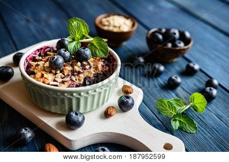 Blueberry Crumble With Oat Flakes And Almonds