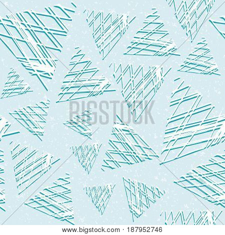 Abstract seamless pattern of three-dimensional triangles. Grunge style. The texture of the stone. Lattice of lines.