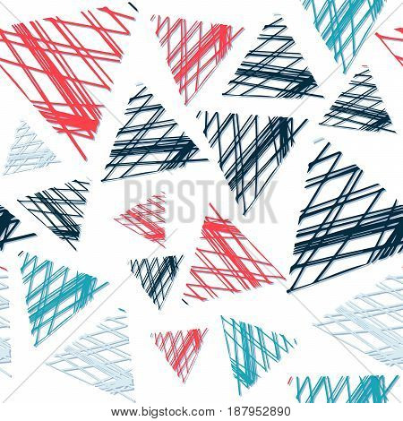 Abstract seamless pattern of colored triangles in grunge. Bright colors.