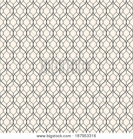 Vector seamless pattern, thin wavy lines. Light texture of mesh, fishnet lace weaving subtle lattice. Monochrome abstract geometric background. Design for prints, decor, fabric, cloth, digital, web