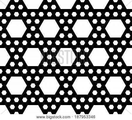 Vector monochrome texture simple geometric black & white seamless pattern with different sized hexagons. Repeat abstract modern background. Modern design for textile, decor, furniture, fabric, cloth
