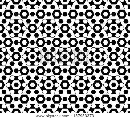 Vector monochrome texture black & white hexagonal geometric seamless pattern. Stylish abstract background with different sized hexagons, symmetric structure. Design for decor, fabric, furniture, web