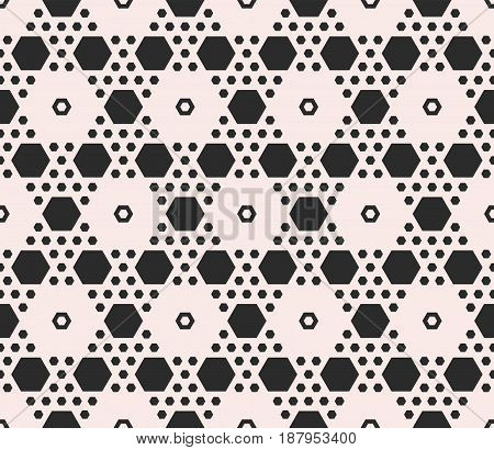 Vector monochrome texture geometric seamless pattern with hexagons. Contrast abstract background with different sized hex symmetric hexagonal structure. Design for textile, cover, digital, furniture