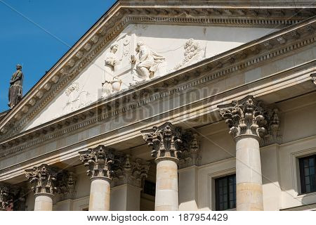 Beautiful Historic Facade Detail Of The French Dome At Gendarmenmarkt