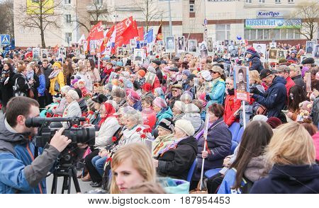Kirishi, Russia - 9 May, People at a rally on Victory Day, 9 May, 2017. Holding a festive rally dedicated to the Victory Day.