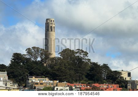 San Francisco, California. Coit tower on Telegraph Hill