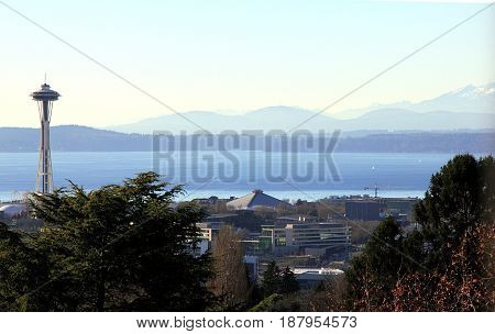 Seattle, Washington - Jan 2, 2016. Beautiful view from Volunteer Park Water Tower on Space Needle, Elliott Bay, and the mountains.