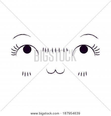 monochrome blurred silhouette of facial expression meditative kawaii vector illustration