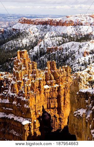 Fresh snow falls in Bryce Canyon in late November
