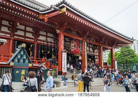 Tokyo Japan - May 1 2017: People are entering Sensoji Shrine Main building.