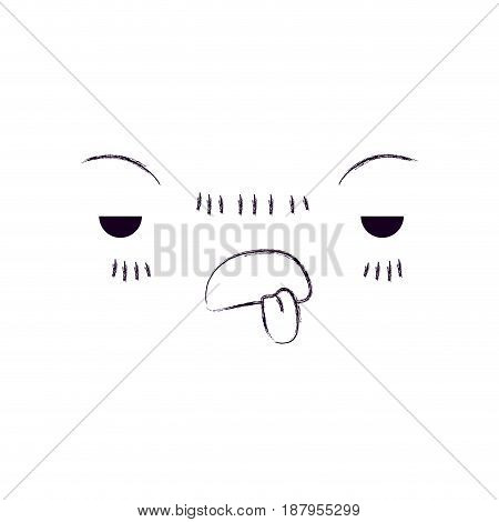 monochrome blurred silhouette of facial expression unpleasant kawaii vector illustration