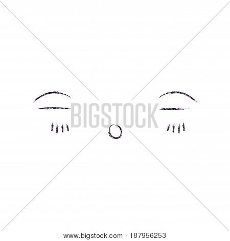 monochrome blurred silhouette of facial expression asleep kawaii vector illustration