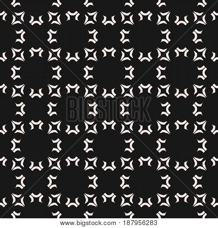 Vector geometric monochrome texture, seamless pattern with rounded geometrical shapes. Regular grid repeat tiles. Abstract dark background. Square design element for prints, decoration digital web