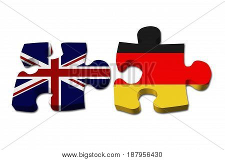 Relationship between the Britain and Germany Two puzzle pieces with the flags of Britain and Germany isolated over white 3D Illustration