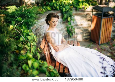Portrait of the bride in the park. Wedding dress. Sunny day.
