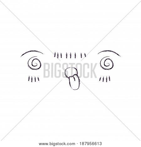 monochrome blurred silhouette of facial expression crazy kawaii vector illustration