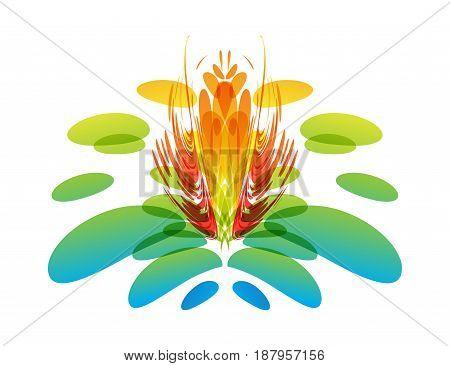 Multicolored unusual flower on white, vector illustration