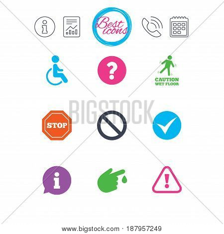 Information, report and calendar signs. Attention caution icons. Question mark and information signs. Injury and disabled person symbols. Classic simple flat web icons. Vector