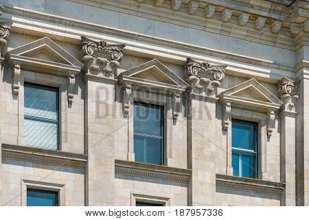Beautiful Building Destail With Historic Facade, Columns, Pillars And Descoration