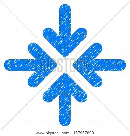 Grunge Quadro Collide Arrows icon with grunge design and scratched texture. Unclean vector blue pictogram for rubber seal stamp imitations and watermarks. Draft emblem symbol.