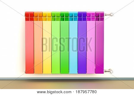 Colorful heating radiator with radiator thermostatic 3D rendering isolated on white background