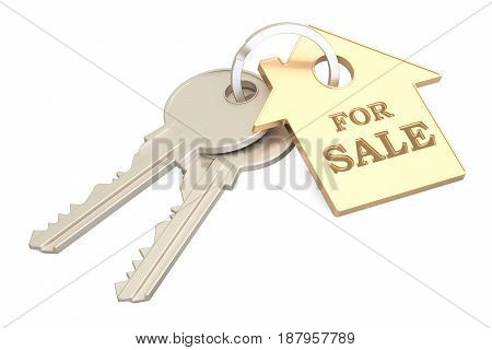 For sale concept key with keychain 3D rendering isolated on white background