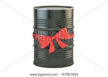 oil barrel with bow and ribbon gift concept. 3D rendering isolated on white background
