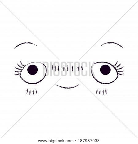 monochrome blurred silhouette of facial expression embarrassed kawaii vector illustration