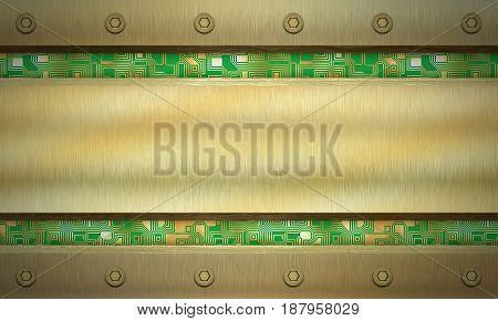 Metal textured background. Circuit board. Digital illustration.