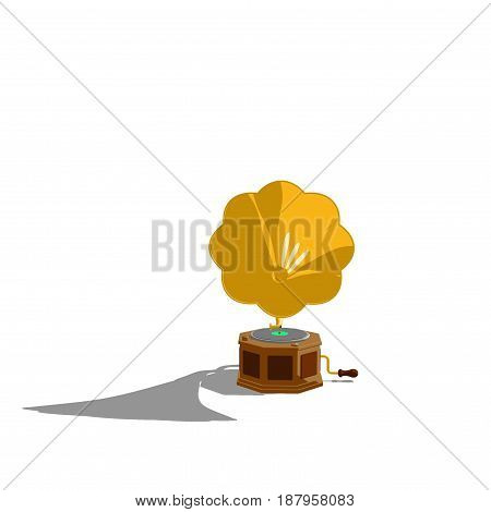Gramophone.Isolated on white background.3D rendering illustration.Cartoon style.Front view.