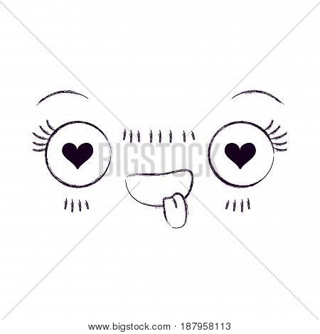 monochrome blurred silhouette of facial expression kawaii in love vector illustration