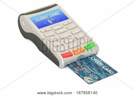 POS-terminal with credit card closeup 3D rendering isolated on white background