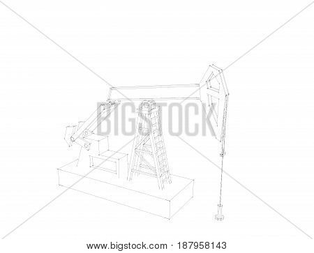 Oil pump jack.Isolated on white background.Sketch illustration.