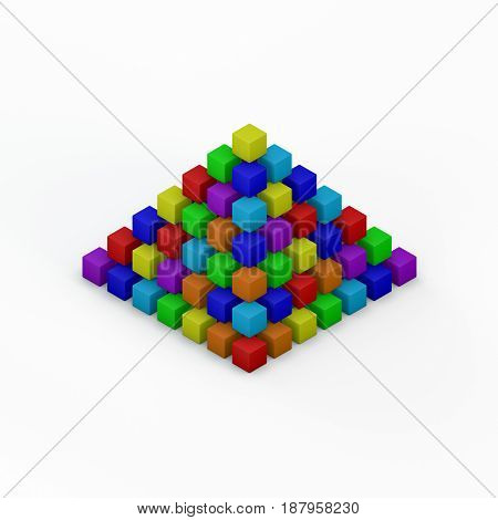Pyramid from toy building blocks.Isolated on white background. 3D rendering illustration.Isometric view.
