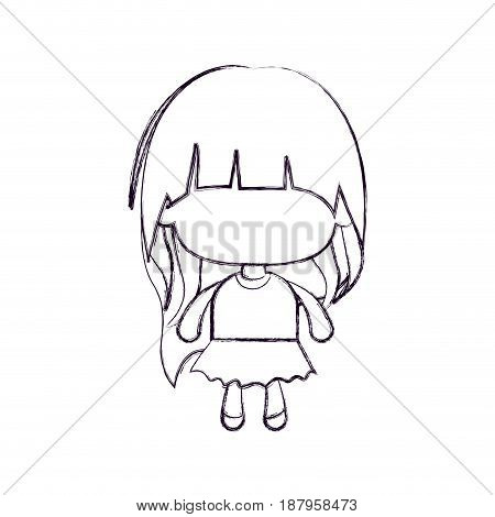 monochrome blurred silhouette of faceless little girl with long hair vector illustration