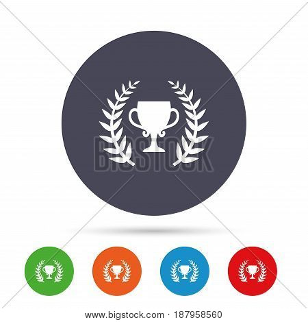 First place cup award sign icon. Prize for winner symbol. Laurel Wreath. Round colourful buttons with flat icons. Vector