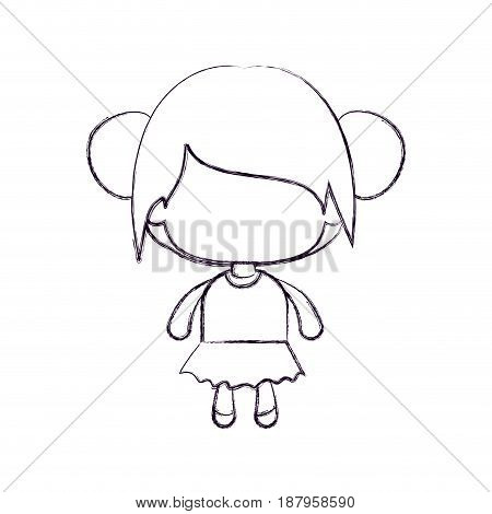 monochrome blurred silhouette of faceless little girl with collected bun hair vector illustration