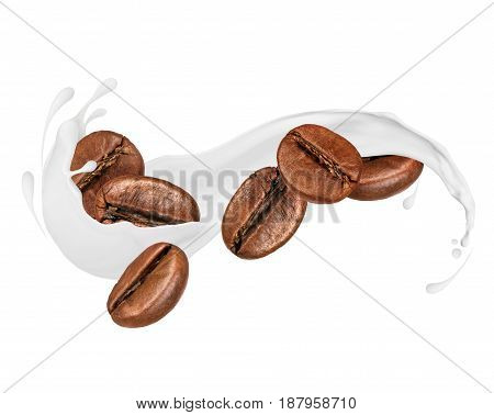 Coffee beans with milk splashes isolated on white background