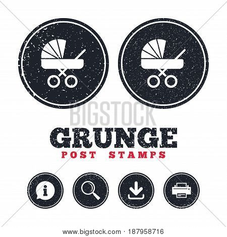 Grunge post stamps. Baby pram stroller sign icon. Baby buggy. Baby carriage symbol. Information, download and printer signs. Aged texture web buttons. Vector